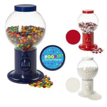 Red Gumball Machine Filled w/ Corporate Color Chocolates