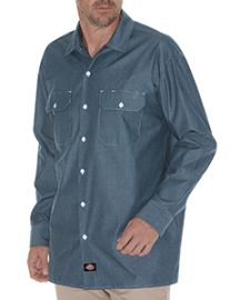 Dickies Men's Relaxed Fit Long-Sleeve Chambray Shirt