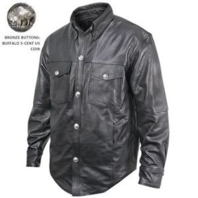 Solid Genuine Leather Shirt