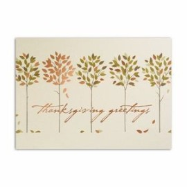Thanksgiving Trees Thanksgiving Card - Ecru Unlined Envelope