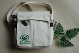 "Organic Canvas Messenger Bag -- 7"" x 9"" x 3"""