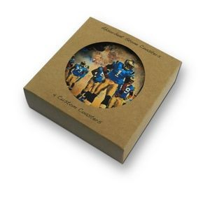 4 Absorbent Stone Coaster with Cork Backing packaged in 4 coaster Box
