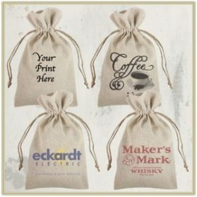 "6"" x 10"" Custom Printed Natural Linen Bag with Jute Drawstring"