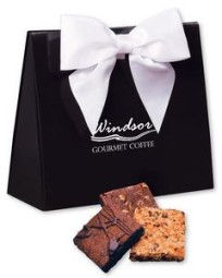 Gourmet Brownies in Black & White Triangular Gift Box