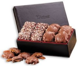 English Toffee & Pecan Turtles in Faux Leather Gift Box