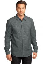District Made® - Mens Long Sleeve Washed Woven Shirt