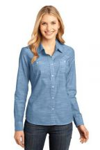 District Made® - Ladies Long Sleeve Washed Woven Shirt