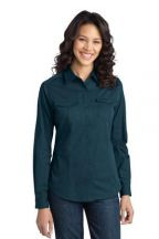 Port Authority® Ladies Stain-Release Roll Sleeve Twill Shirt