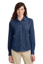 Port & Company® - Ladies Long Sleeve Value Denim Shirt