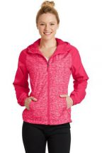 Sport-Tek® Ladies Heather Colorblock Raglan Hooded Wind Jacket