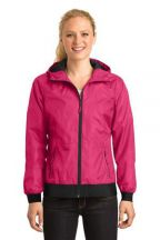 Sport-Tek® Ladies Embossed Hooded Wind Jacket