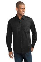 Port Authority® Stain-Release Roll Sleeve Twill Shirt